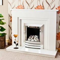 Stepped Wendle Marble Fireplace - Available in or Marble Hearth, Marble Fireplace Surround, Fireplace Redo, Fake Fireplace, Marble Fireplaces, Fireplace Surrounds, Fireplace Mantels, Fireplace Ideas, Mantle