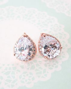 These rose gold luxe cubic zirconia teardrop stud earrings by ColorMeMissy via etsy will add a splash of elegance to your ensemble. #rosegoldstuderrings