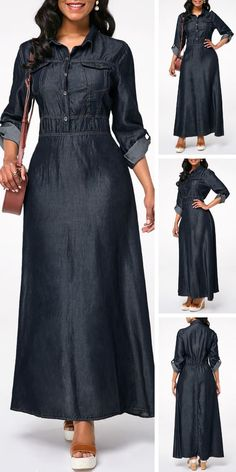 Dresses For Women Abaya Fashion, Muslim Fashion, Denim Fashion, Womens Fashion, Denim Maxi Dress, Maxi Dress With Sleeves, Jeans Dress, African Fashion Dresses, African Dress