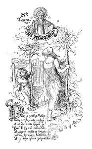 Svatý Matěj, kresba Mikoláše Alše Vintage Artwork, Czech Republic, Europe, Embroidery, Bohemia, Vintage Graphic