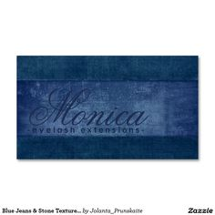 Blue Jeans & Stone Texture Eyelash Extensions Card Double-Sided Standard Business Cards (Pack Of 100)