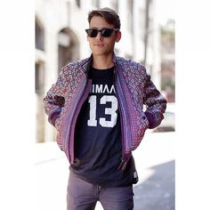 46d27554cb40 Scarf print varsity jacket Gq Fashion