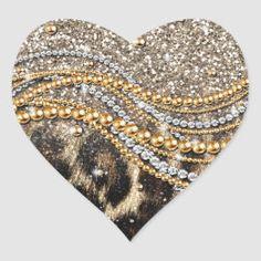 Glam Gold Leopard Print Glitzy Pink Glitter Heart Sticker   Zazzle.com Glam And Glitter, Glitter Hearts, Pink Glitter, Dripping Lips, Animal Fashion, Fashion Images, Gold Pearl, Printer, Unisex
