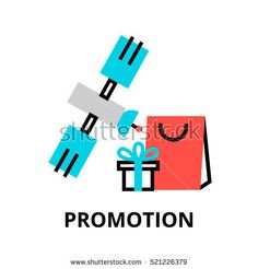 Modern flat thin line design vector illustration, concept of promotion and marketing process, for graphic and web design