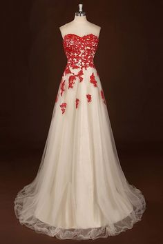 sweetheart white tulle long lace appliques wedding dress, prom dress