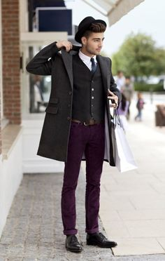 Purple pants and hat
