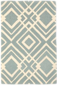#DashandAlbert Gracie Blue Tufted/Carved Wool Rug. Such grace, such style! With a unique geometric diamond print on a soft blue background, this elegant tufted and carved wool rug makes a bold statement in the master bedroom, dining room, or living room.