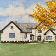 Fall is in the air! Capture it in watercolor paint. Custom house portraits. House Paintings, Realtor Gifts, Hand Sketch, Watercolor Artwork, Cool Lighting, Custom Paint, That Way, Custom Homes, House Warming