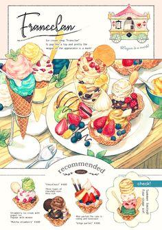 Of fire and waves Dessert Illustration, Japon Illustration, Desserts Drawing, Recipe Drawing, Cute Food Art, Cute Food Drawings, Food Sketch, Watercolor Food, Food Painting