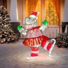 This happy Ice Skating Hippo Lighted Outdoor Christmas Decoration is decked out in a tutu, Santa Hat, and gloves. She's ready to go and will bring smiles along with her! Christmas Wedding, Christmas Diy, Christmas Ornaments, Fabric Christmas Decorations, Holiday Decor, Santa Hat, Ice Skating, Outdoor Lighting, Patio
