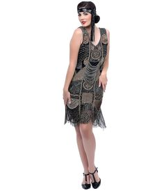 """1920s """"The Bosley"""" Black & Antique Gold Beaded Flapper with Beaded Fringe Dress #uniquevintage"""