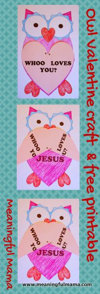 Owl Valentine with Printable - This is a full size coloring sheet for kids. Attach the heart wings with metal brads.
