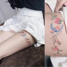 Moon flowers tattoo wrapped around thigh