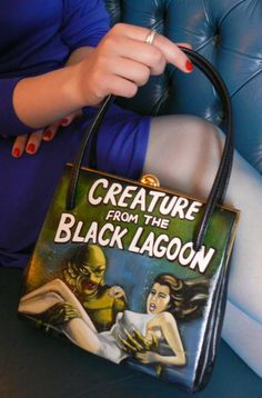 Creature from the Black Lagoon  Hand painted vintage handbag