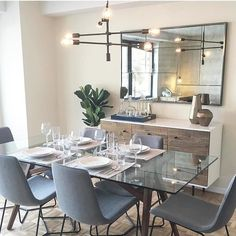 35 Best Small Dining Room Design Ideas That You Can Try in Your Home Glass Dining Room Table, Dining Table Design, Dining Chairs, Modern Dining Table, Dining Room With Mirror, Room Chairs, Glass Dining Table Rectangular, Dining Rooms, Glass Tables