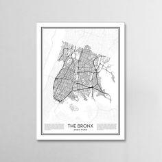The Bronx New York City Map, Minimalist city maps, The Bronx Poster, Wall Art Gift