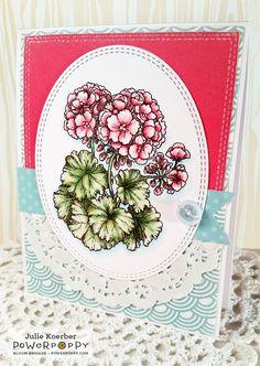 Out To Impress: Geraniums Digital Stamp Set by Power Poppy, card design by Julie Koerber.