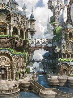 Architecture ~ Fantasy Landscape RPG gaming Fantasy SFF Dungeons & Dragons D&D DnD Tabletop Tabletop Gaming Sword & Sorcery gamer Fantasy City, Fantasy Castle, Fantasy Places, Fantasy Kunst, Sci Fi Fantasy, Fantasy World, Fantasy Village, Fantasy House, Final Fantasy Ix