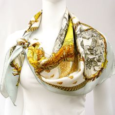 Authentic Vintage Hermes Silk Jacquard Scarf Napoleon Light Blue Colorway