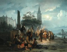 """Ruyten January Michiel (Antwerp 1813-1881) Oil on canvas - style frame 125cm x 100cm - 142cm x 118cm Belgian School dated 1861 Littr. Ruyten is an important genre scenes and landscapes painter who is known primarily for its architectural views of the bustling city of Antwerp. He was the master of many painters at the Antwerp Academy and participated in numerous exhibitions in Belgium and abroad between 1836 and 1864. This table is similar to the work in the Musée Kortrijk """"The Berck…"""