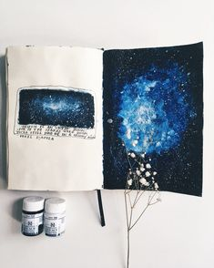 Click on the YouTube link in my bio if you're curious to know how I create galaxy paintings in my journal  #artjournalsessions #artjournal…