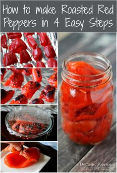 How to make Roasted Red Peppers in 4 Easy Steps. This is a great idea and looks … How to make Roasted Red Peppers in 4 Easy Steps. This is a great idea and looks delicious. Chutneys, Cocina Light, Roasted Peppers, Roasted Red Pepper Sauce, Roasted Red Pepper Canning Recipe, Pickled Red Peppers Recipe, Roasted Capsicum, Yummy Food, Tasty