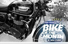 Pure Triumph's September Bike of the Month - Michael's nicely chromed black Bonnie.  More photos: http://on.fb.me/IotUHn