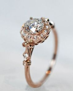 pretty vintage rose gold diamond wedding engagement rings