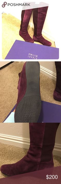 """Stuart Weitzman inner-wedge boots in size 7 (Had worn 3 times) On-trend over-the-knee silhouette in Bordeaux Suede with a hidden wedge and comfortable micro-stretch back. Chic pull-on style in suede with stretch back gore Hidden wedge heel, 2"""" (50mm) Shaft, 19"""" Leg circumference, 13"""" Suede upper Leather lining Rubber sole Padded insole Made in Spain. Stuart Weitzman Shoes Winter & Rain Boots"""
