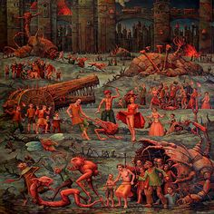 Are you a fan of Bosch and surrealistic fine arts? Then you will enjoy the weird, witty and wonderful world of Michael Hutter… With oil painting, watercolor or ink, this artist is creating visions of. Creepy Art, Weird Art, Arte Horror, Horror Art, Dark Fantasy Art, Dark Art, Old Paintings, Medieval Art, Medieval Manuscript