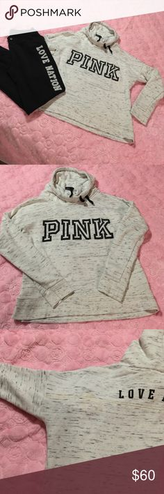 Pink crew neck sweater Good condition ( rare) gray and black top. From PINK , has juice stain on the left shoulder see third photo.  The pants is black with love nation logo on the left leg but it's not from pink ( NA NA FASHION) but the look col together PINK Victoria's Secret Sweaters