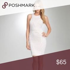 Bebe addiction white nude underlay bodycon dress Bebe addiction XS white crochet bodycon dress with nude underlay detailing. Pull on construction. Worn only once. bebe Dresses Mini