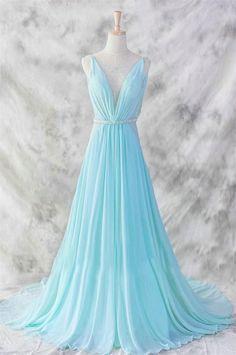 Ice Blue Simple Deep V-neck Beaded Open Back Prom Dresses OK22