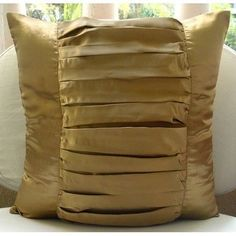 "Textured Gold Pillow Cases, Satin 16""X16"" Decorative Pillow Covers - Gold Beauty"