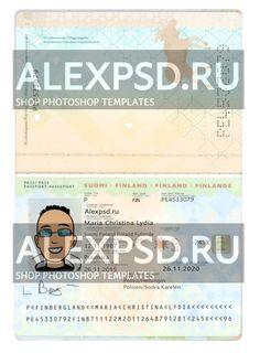 Finland passport - ALEXPSD Passport Template, Psd Templates, Photoshop, Names, Finland, Passport
