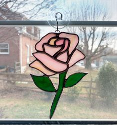 Stained Glass Rose Suncatcher - Pink Rose - Rose Ornament - Valentines Day Gift - Anniversary Gift - Flower Suncatcher - Glass Flower by StainedGlassYourWay on Etsy