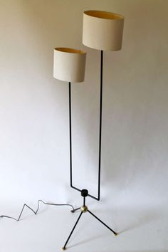 Arturo Pani; Enameled Metal and Brass Floor Lamp for Talleres Chacon, 1950s.