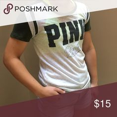 Pink T-Shirt only worn a few times. good condition. olive green sleeves. PINK Victoria's Secret Tops Tees - Short Sleeve