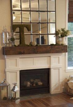Fireplace Decor Mirror Candles Lantern Clock On A
