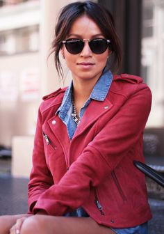 Red leather jacket with Jean top black pants...