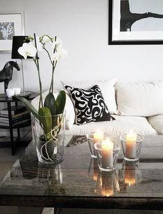 Black and white details in the living room.