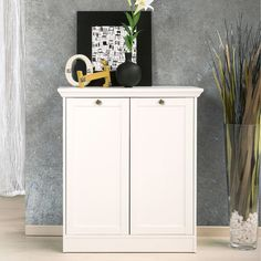 Ebern Designs Sideboard - Style and classic design - MDF and metal - White - 2 doors, 2 shelves, antique finish metal furniture knobs - Moldings and frame door made of medium - European production - Total dimensions: W 80 x D 35 x H 90 cm. Narrow Sideboard, Dining Room Sideboard, Sideboard Cabinet, Furniture Knobs, Metal Furniture, Bench With Storage, Tall Cabinet Storage, Wooden Tv Stands, Character Home