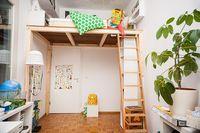 Ein Hochbett selber bauen - DIY Anleitung Build a loft bed yourself - DIY instructions b Mezzanine Bedroom, Bedroom Loft, Kids Bedroom, Adult Loft Bed, Build A Loft Bed, High Beds, Kids Bunk Beds, Diy Bed, Small Rooms