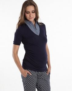 dc34bc89cca6f The perfect fit navy blue maternity top is crafted in a combination of soft  knit and woven fabric. Faux inner shirt-collar is sewn to neckline, ...