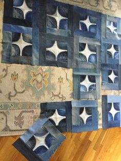 Denim pockets blocks, quilt in progress at Patwig's blog