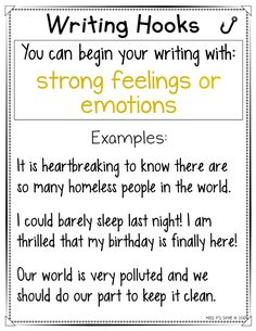 Are your students having a hard time beginning their personal narrative or expository writing pieces? These writing hooks anchor charts are helpful with providing a variety of ways to hook their reader! Get 20 different ways to start your writing in an interesting and intriguing way! #writingworkshop #anchorcharts #writinghooks #narrative #expository #storystarters Creative Writing Tips, Book Writing Tips, Writing Words, Writing Lessons, Kids Writing, Teaching Writing, Writing Ideas, Writing Prompts, Expository Writing