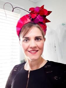 I absoloutely creating crowns, and this one was such a delight to make!. With Red and Pink flowers and leaves and a quil to also compliment the crown. Race wear hats, headpieces and accessories - Visit my online shop!. www.julieherbertmillinery.com.au Race Wear, The Crown, Pink Leather, Red And Pink, One Size Fits All, Fascinator, Pink Flowers, Compliments, Headpieces