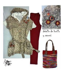 Chaleco con apliques + leggins  bordo + camisola natural
