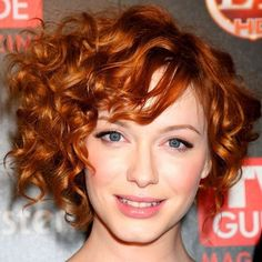 Red curly short hair