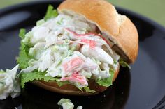 Crab Salad Sandwiches I also add a can of chopped black olives and a box of frozen peas to mine. I serve mine in whole wheat pita pocket bread lined with alfalfa sprouts. One of my favorite sandwiches! Crab Salad Sandwich Recipe, Crab Sandwich, Soup And Sandwich, Sandwich Recipes, Sandwich Spread, Lunch Recipes, Sea Food Salad Recipes, Crab Meat Recipes, Antipasto